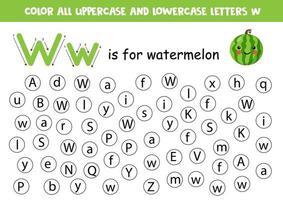 trouver et colorier toutes les lettres w. jeux d'alphabet pour les enfants.