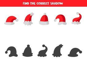 trouver la bonne ombre de chaque image. feuilles de calcul de Noël. vecteur
