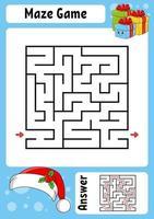 cadeau de labyrinthe carré. jeu pour les enfants. thème d'hiver. labyrinthe drôle. feuille de travail sur le développement de l'éducation. page d'activité. style de bande dessinée. énigme pour l'école maternelle. énigme logique. illustration vectorielle de couleur.