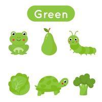cartes flash avec des objets de couleur verte. feuille de travail imprimable éducative. vecteur