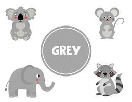 apprendre la couleur grise pour les enfants d'âge préscolaire. feuille de travail pédagogique. vecteur