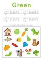 apprendre la couleur verte pour les enfants d'âge préscolaire. pratique de l'écriture. vecteur
