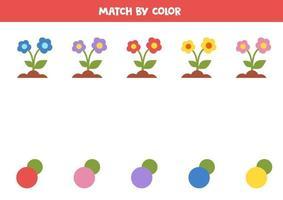 assortissez les fleurs et les couleurs. jeu logique éducatif.