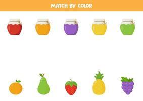 match par couleur. pots de confiture et fruits.