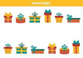 jeu d'association pour les enfants. trouver la paire à chaque coffret cadeau.