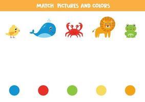 faire correspondre les animaux et les couleurs. feuille de calcul logique. vecteur