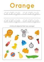 apprendre la couleur orange pour les enfants d'âge préscolaire. pratique de l'écriture. vecteur