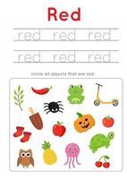apprendre la couleur rouge pour les enfants d'âge préscolaire. pratique de l'écriture. vecteur