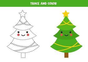 tracez et coloriez le joli sapin de Noël kawaii. vecteur