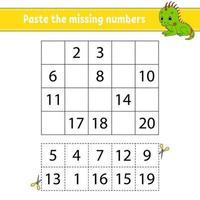 collez les nombres manquants 1-20. jeu pour les enfants. pratique de l'écriture manuscrite. apprendre les nombres pour les enfants. feuille de travail sur le développement de l'éducation. page d'activité. illustration vectorielle isolé dans un style dessin animé mignon.