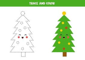 tracez et coloriez le joli sapin de Noël kawaii.