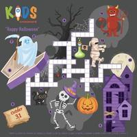 puzzle de mots croisés joyeux halloween