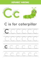 traçage de la lettre de l'alphabet c avec chenille de dessin animé mignon.