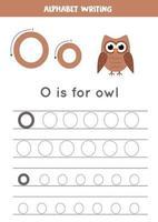 traçage de la lettre de l'alphabet o avec chouette dessin animé mignon.