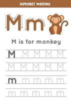 traçage de l'alphabet anglais. la lettre m est pour le singe.