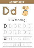 d est pour chien. traçage de la feuille de calcul de l'alphabet anglais.