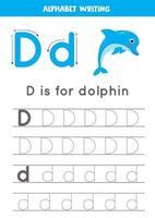 d est pour le dauphin. traçage de la feuille de calcul de l'alphabet anglais. vecteur