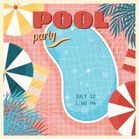 affiche vintage de fête à la piscine