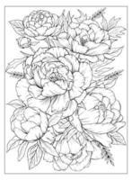 Coloriage avec des pivoines et des feuilles. page de vecteur à colorier. coloriage de fleurs. imprimé floral. contour des pivoines. page noir et blanc pour cahier de coloriage.