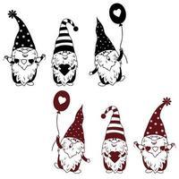ensemble de gnomes pour impression vecteur