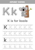 k est pour koala. traçage de la feuille de calcul de l'alphabet anglais. vecteur