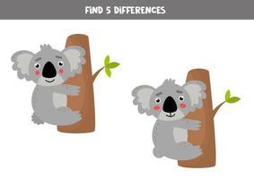 trouver 5 différences entre deux images avec un koala mignon. vecteur