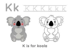 Coloriage et traçage avec la lettre k et koala de dessin animé mignon. vecteur