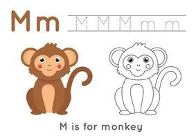 Coloriage et traçage avec la lettre m et le singe de dessin animé mignon. vecteur