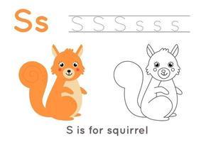 Coloriage avec la lettre s et écureuil de dessin animé mignon. vecteur