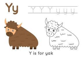 Coloriage avec la lettre y et le yak de dessin animé mignon. vecteur