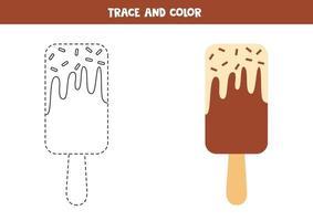 trace et couleur de la glace au chocolat. feuille de calcul pour les enfants. vecteur