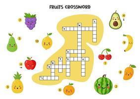 puzzle de mots croisés pour les enfants avec des fruits mignons. vecteur