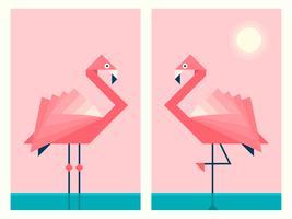 Flamants roses dans le style géométrique de papier origami