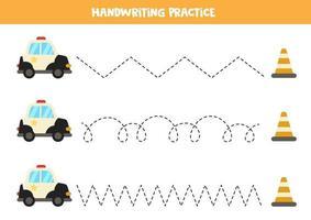 tracez les lignes avec une voiture de police. pratique de l'écriture. vecteur