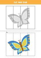 jeu de coupe et de colle pour les enfants. joli papillon coloré. vecteur