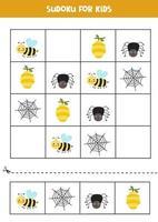 jeu de sudoku avec des insectes mignons. pour les enfants. vecteur