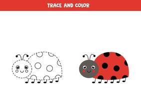 tracez et coloriez la coccinelle mignonne. feuille de calcul pour les enfants. vecteur