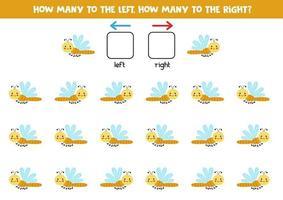 à gauche ou à droite avec une jolie libellule. feuille de calcul logique pour les enfants d'âge préscolaire. vecteur