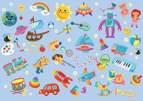 jeu pour enfants et ensemble de jouets vecteur