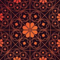 Tudor rose motif répétitif fond orange brûlé vecteur