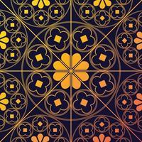 tudor rose motif répétitif fond bleu marine doré vecteur