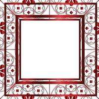 modèle de fond floral motif médiéval carré rouge métallique vecteur