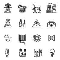électricité puissance et énergie icon set image vectorielle. vecteur