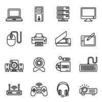 image vectorielle de jeu d'icônes d'ordinateur. vecteur