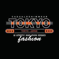 conception de t-shirt typographie denim japon tokyo vecteur