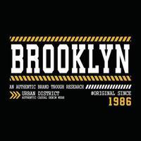 conception originale de typographie de vêtements urbains de brooklyn vecteur
