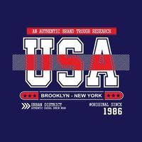 conception de typographie de vêtements urbains usa new york city vecteur