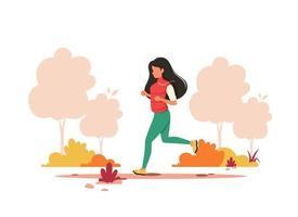 femme jogging dans le parc automne. mode de vie sain, sport, concept d'activité de plein air. illustration vectorielle.
