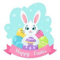 carte de voeux joyeuses Pâques. lapin aux oeufs de Pâques. illustration vectorielle vecteur