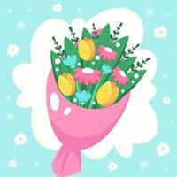 bouquet de fleurs printanières. illustration vectorielle vecteur
